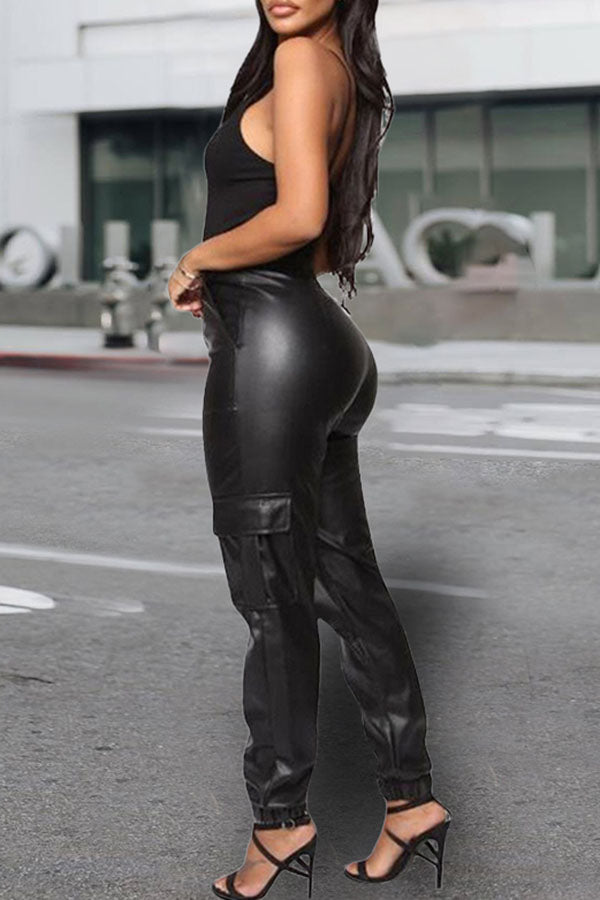 Casual Zip Pocket Leather Pants