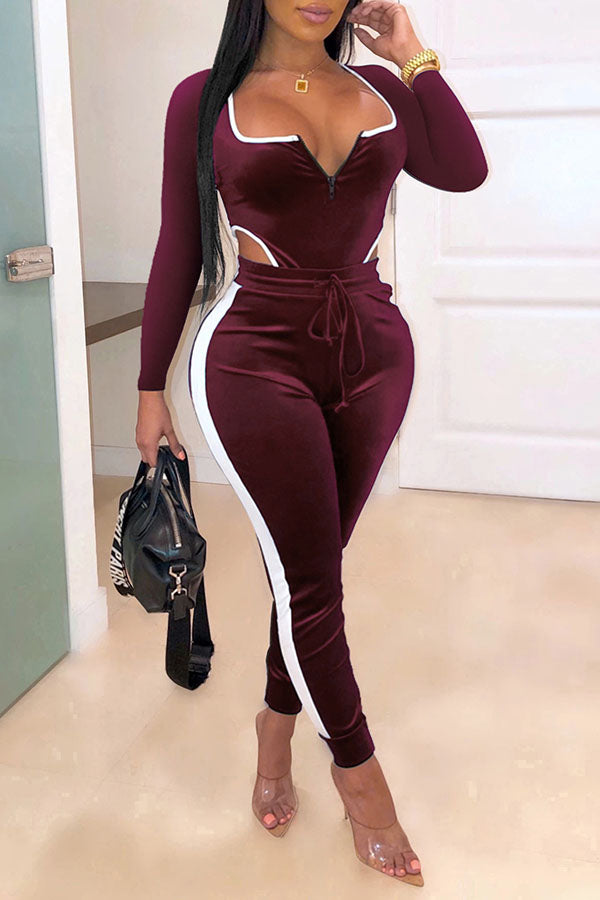 Suede Cutout Lace-Up Jumpsuit