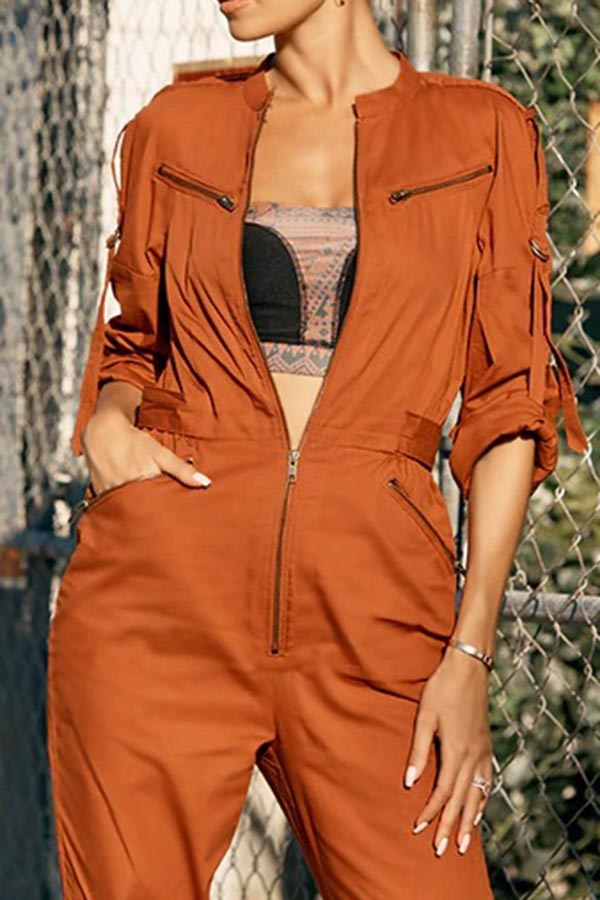 Solid Color Biker Zipper Jumpsuit