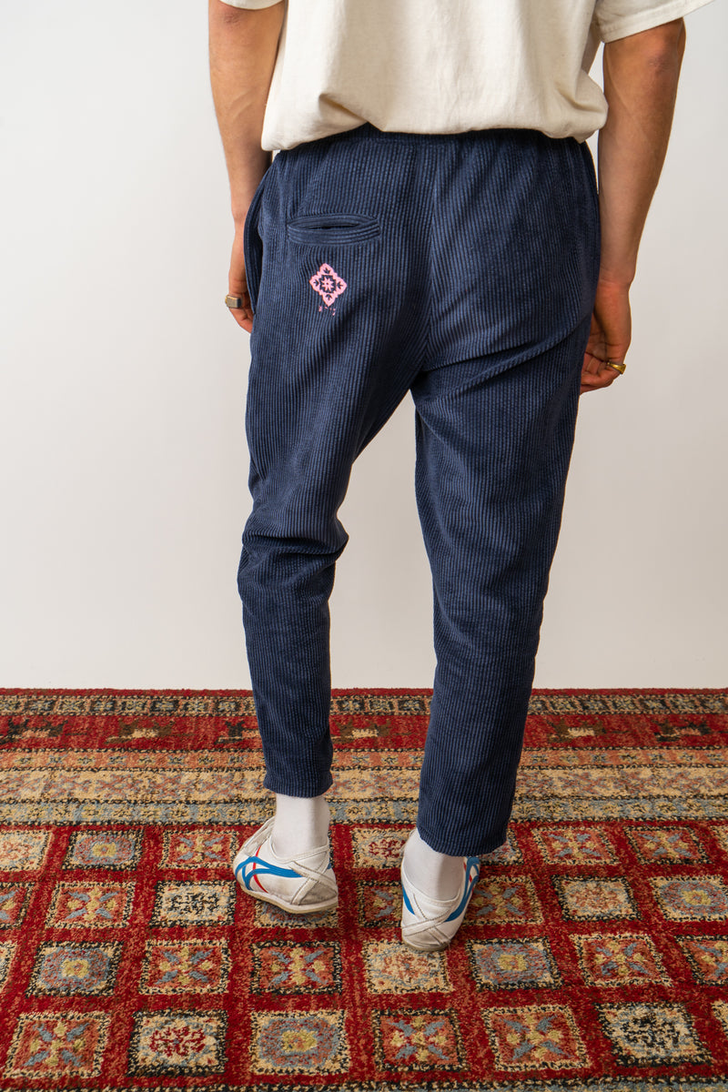 Corduroy Trousers In washed Navy Blue