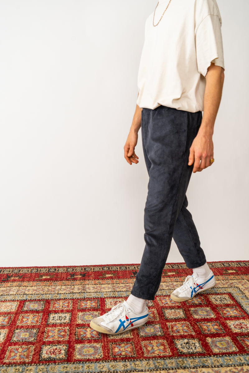 Corduroy Trousers In Washed Black