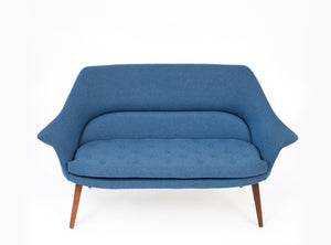 Danish Loveseat, Sky Blue Wool Danish Loveseat, Sky Blue Wool