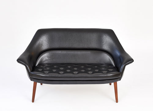 Danish Loveseat, Black Nappa