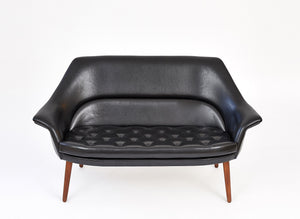 Danish Loveseat, Black Nappa Danish Loveseat, Black Nappa