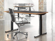 Load image into Gallery viewer, Subscription_OMNI_office_elevation_desk_with_chair_Linak_linoleum_charcoal_table_custom_oak_frame