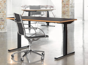Subscription_OMNI_office_elevation_desk_with_chair_Linak_linoleum_charcoal_table_custom_oak_frame