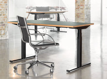 Load image into Gallery viewer, Subscription_OMNI_two_elevation_desks_with_wheeling_office_chair_Linak_linoleum_greenl_table_custom_oak_frame_comfortable