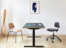 Load image into Gallery viewer, Subscription_OMNI_two_elevation_desks_with_office_chairs_Linak_linoleum_green_table_custom_oak_frame_poster_floor_lamp