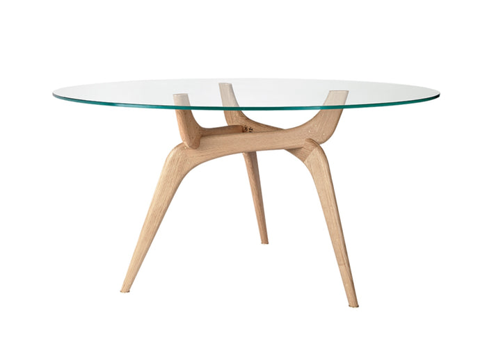 Triiio Round Table, Oak & Clear