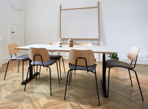 Subscription_OMNI_Labofa_Heritage_Collection_four_office_chairs_long_elevation_desk_Oak_&_Corduroy_vase