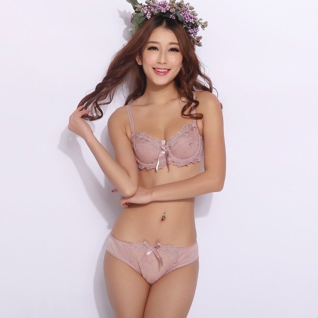 Underwear set transparent sexy lace bra set plus
