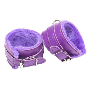 Adjustable PU Leather Plush Sex Handcuffs