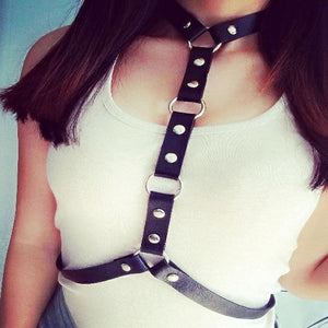 Body Leather Harness Bondage Statement Necklaces