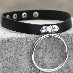 Black leather Goth Choker punk