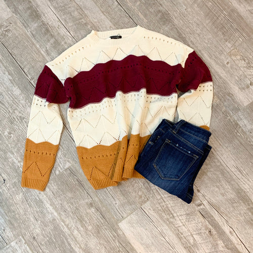 Live Your Best Life Color Block Sweater
