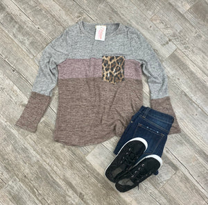 Simply Perfect Leopard Color Block Top