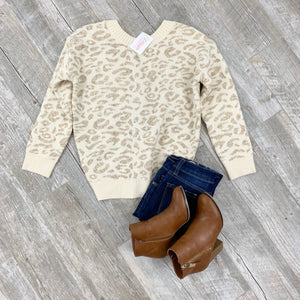 Love Me Leopard Twist Back Sweater