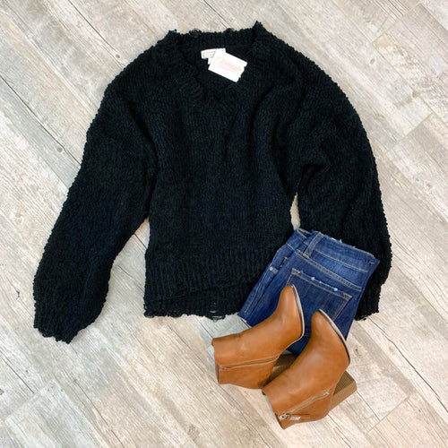 Falling For You Black Distressed Sweater