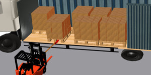 curtain sider truck offloaded using the pallet puller