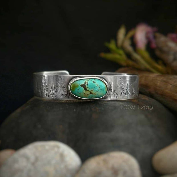 INTO THE FOREST • Turquoise Bracelet • Sterling Silver or 14k Gold - Art In Motion Jewelry & Metal Studio