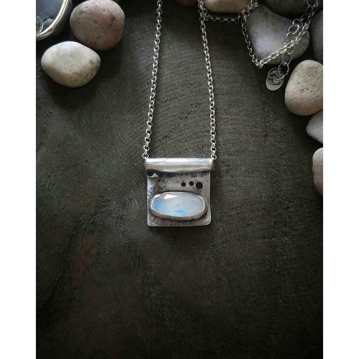 RIVERS EDGE NECKLACE - Moonstone Necklace - Art In Motion Jewelry & Metal Studio