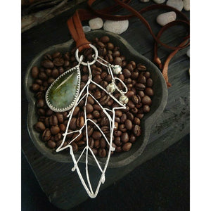 CHANNELING AUTUMN  Prehnite & Sterling Silver Necklace