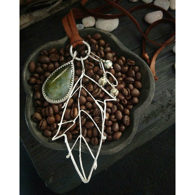 CHANNELING AUTUMN  Prehnite & Sterling Silver Necklace - Art In Motion Jewelry & Metal Studio