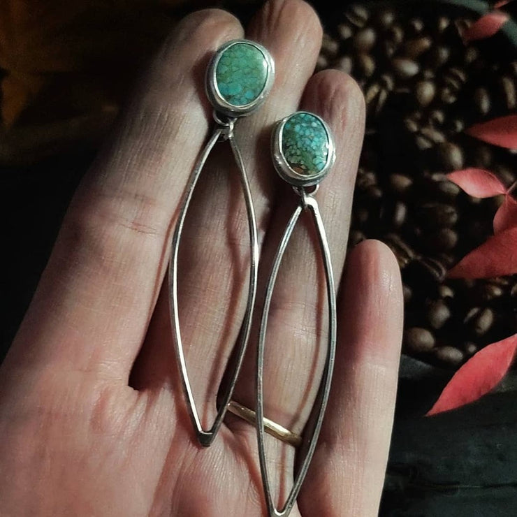 MARQUISE DANGLE EARRINGS - Turquoise - Sterling Silver Earrings