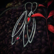 DOUBLE MARQUISE  EARRINGS - Garnet Gemstone - Sterling Silver Earrings - Art In Motion Jewelry & Metal Studio