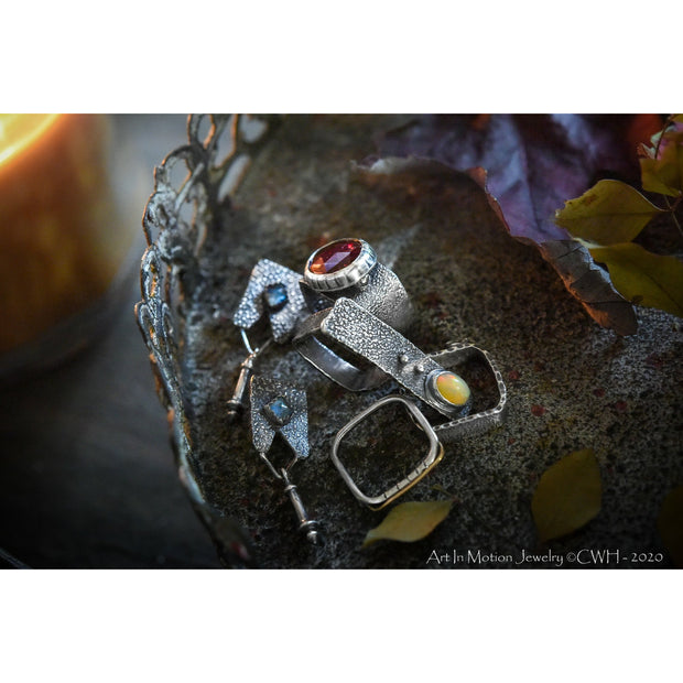 HIDDEN WONDERS COLLECTION - Square Stack Ring - Garnet - Sterling Silver & 14k Gold - Art In Motion Jewelry & Metal Studio