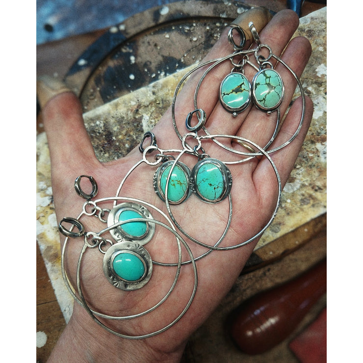 DOT - Turquoise - Sterling Silver Hoop Earrings - Art In Motion Jewelry & Metal Studio