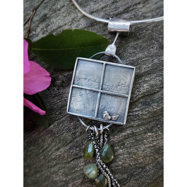 WINDOWS COLLECTION - Birds and Trees - Fine Art - Sterling Silver Pendant - Art In Motion Jewelry & Metal Studio