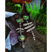 ASYMMETRICAL FERN EARRINGS- Sterling Silver - Green Tourmaline - Art In Motion Jewelry & Metal Studio