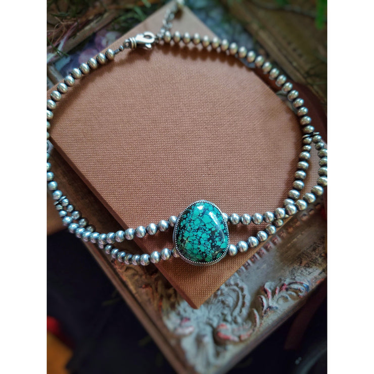 TURQUOISE CHOKER - Sterling Silver Navajo Pearl Necklace - Art In Motion Jewelry & Metal Studio