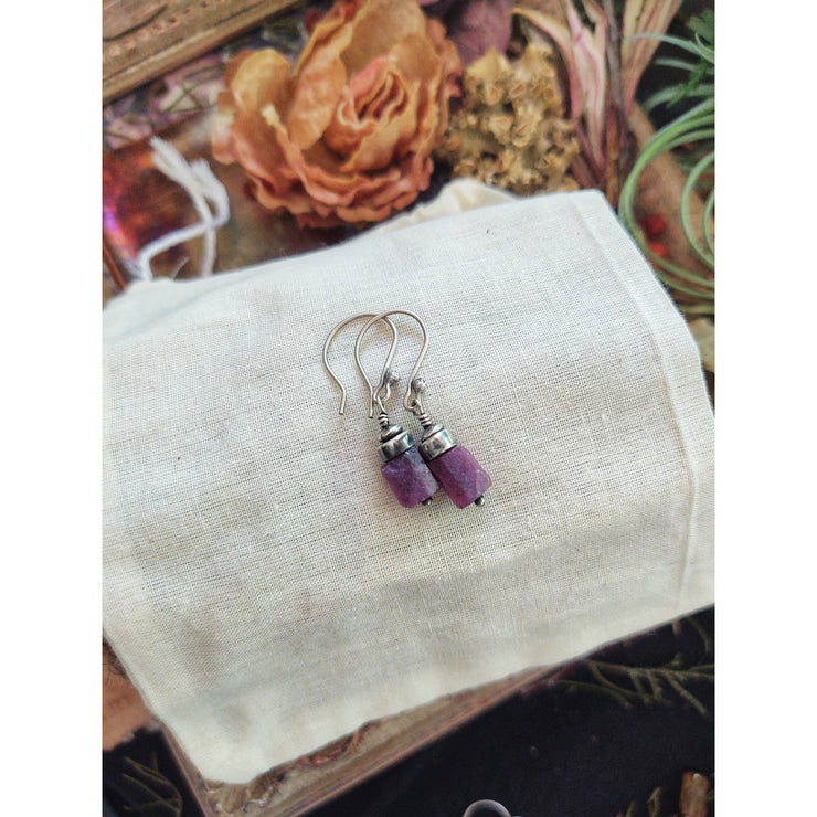 RAW UNREFINED GEM EARRINGS - Sterling Silver - 1.25 inches - Art In Motion Jewelry & Metal Studio