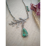 MAJESTIC OAK LEAF - Kingman Turquoise - Statement Necklace - Art In Motion Jewelry & Metal Studio