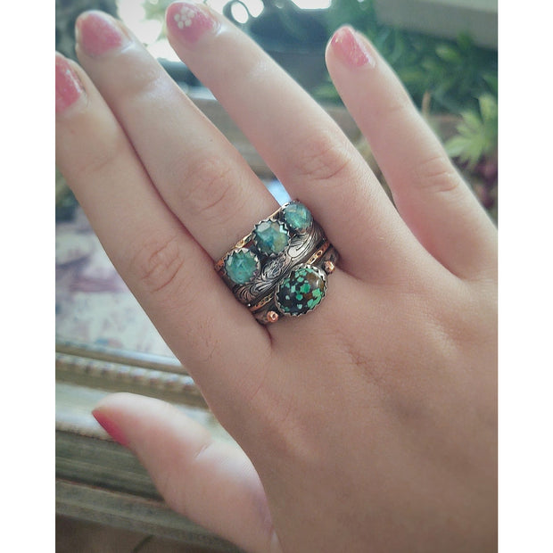 LAUREN - Turquoise and Apatite - 5 band Stack Ring - Art In Motion Jewelry & Metal Studio