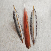 FUSED - Gold & Silver Feather Statement Earrings - Art In Motion Jewelry & Metal Studio