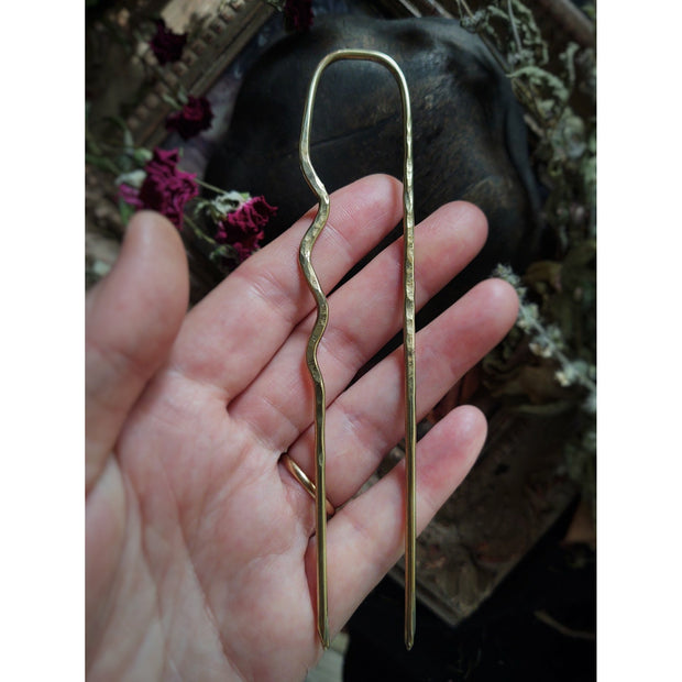 HAIR FORK • SHAWL PIN • Solid Brass - Art In Motion Jewelry & Metal Studio