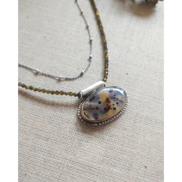 THE PATH TAKEN - Montana Agate #1 - Sterling Silver, 14Kgf Necklace - Art In Motion Jewelry & Metal Studio LLC