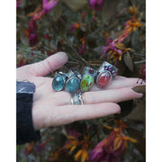 OFFSET GEMSTONE - Moss Aquamarine ©Flora Statement Ring - Ready to Ship - Art In Motion Jewelry & Metal Studio LLC