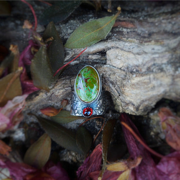 OFFSET GEMSTONE - Turquoise ©Flora Statement Ring - Ready to Ship - Art In Motion Jewelry & Metal Studio LLC