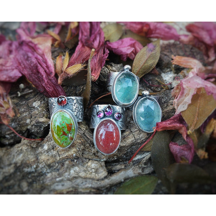 OFFSET GEMSTONE - Moss Aquamarine ©Flora Statement Ring - Ready to Ship