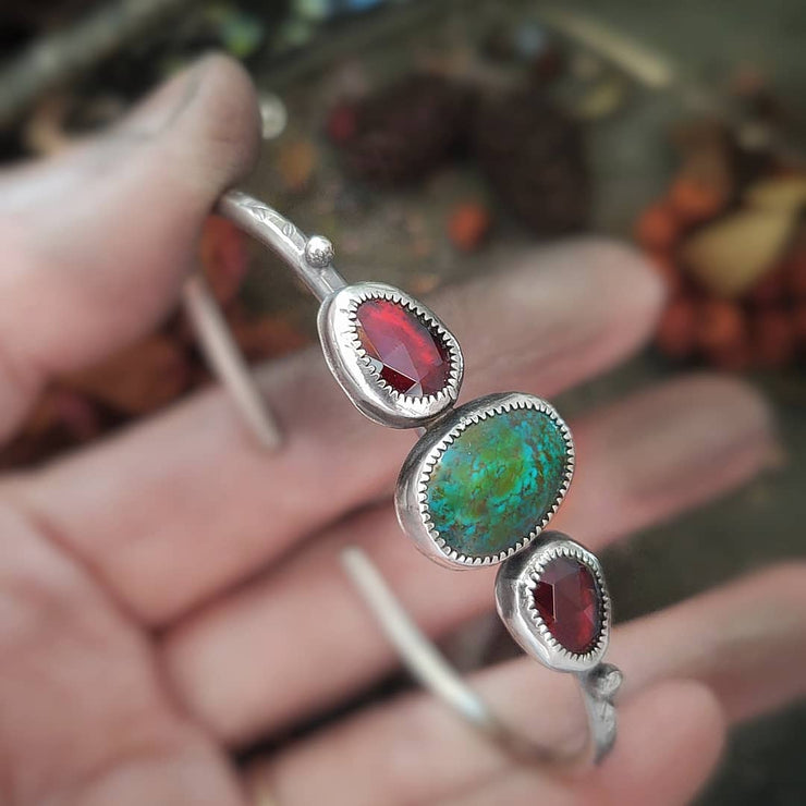 DEAREST • Turquoise & Garnet - Silver Cuff Bracelet - Art In Motion Jewelry & Metal Studio