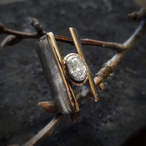 EMPOWERED - WIDE ALTERNATIVE WEDDING RING - Made to Order - Art In Motion Jewelry & Metal Studio LLC