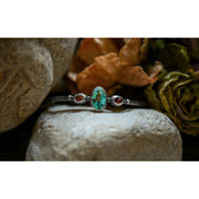 DEAREST • Turquoise Mountain Turquoise & Garnet - Silver Cuff Bracelet - Art In Motion Jewelry & Metal Studio
