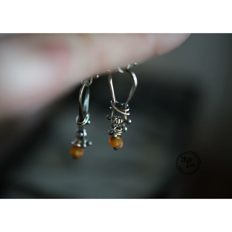 BALTIC AMBER • KINETIC EARRINGS • Sterling Silver - Art In Motion Jewelry & Metal Studio