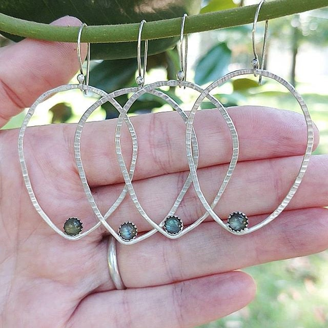 LOTUS PEDAL HOOPS • sterling silver hoops-Art In Motion Jewelry & Metal Studio