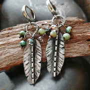 Turquoise Feather Earring - Art In Motion Jewelry & Metal Studio