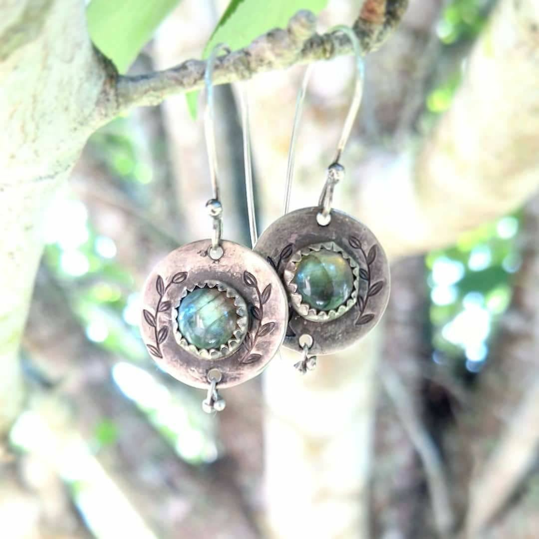 OLIVE BRANCH • sterling silver earring with labradorite-Art In Motion Jewelry & Metal Studio
